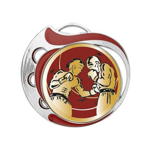 Médaille boxe rouge et argent - 70mm.
