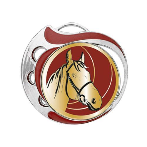 Médaille équitation rouge et argent - 70mm.