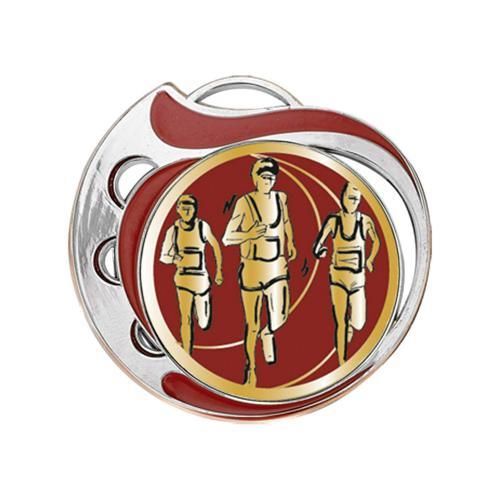 Médaille course à pied rouge et argent - 70mm.