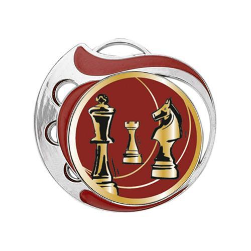Médaille échecs rouge et argent - 70mm.