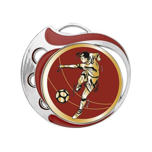 Médaille foot rouge et argent - 70mm.