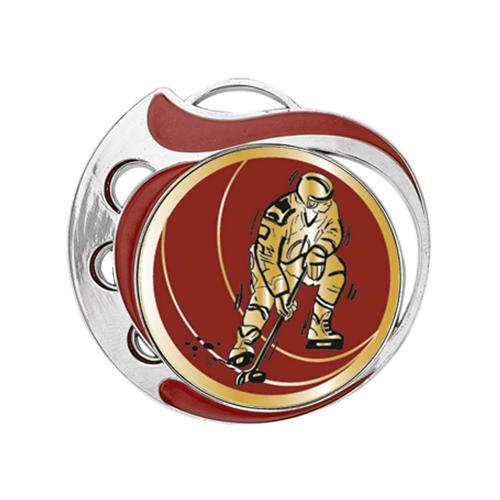 Médaille hockey rouge et argent - 70mm.