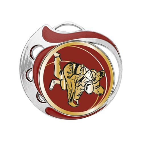 Médaille judo rouge et argent - 70mm.