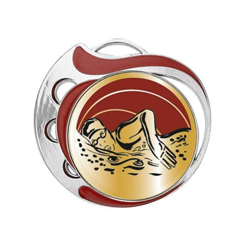 Médaille natation femme rouge et argent - 70mm.