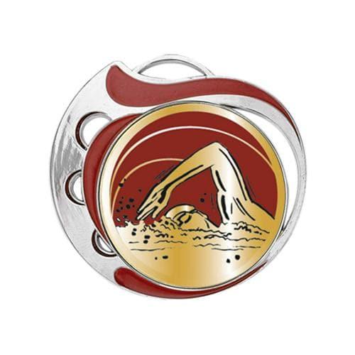 Médaille natation rouge et argent - 70mm.