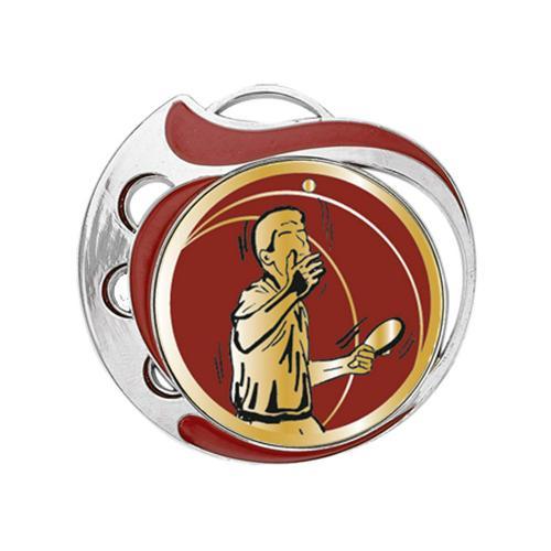 Médaille tennis table rouge et argent - 70mm.