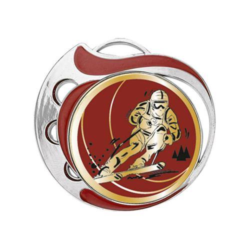 Médaille ski rouge et argent 70mm.