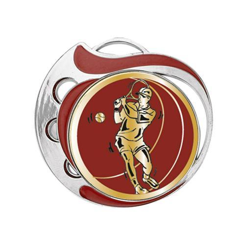 Médaille tennis rouge et argent - 70mm.