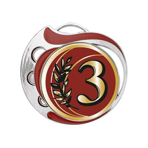 Médaille 3ème rouge et argent - 70mm.