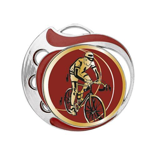 Médaille cyclisme rouge et argent - 70mm.
