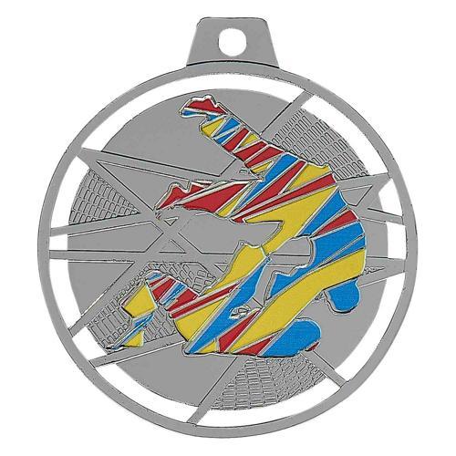 Médaille judo argent émaillées - 70mm.
