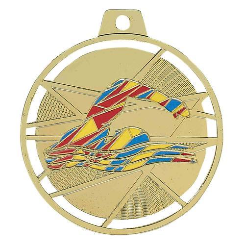 Médaille natation or émaillées - 70mm.