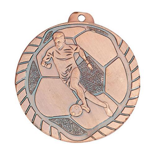 Lot de 25 médailles de foot bronze - économique - 50mm.