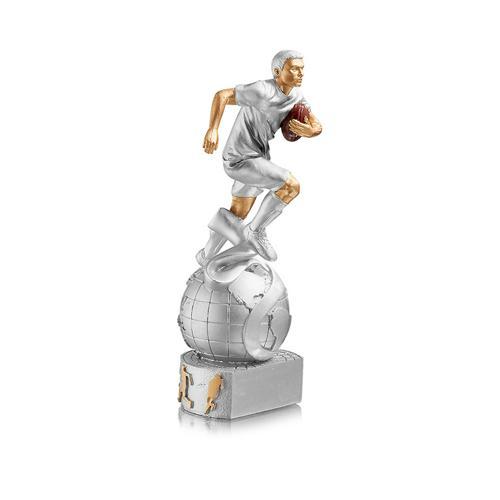 Trophée rugby argent - joueur sur globe - spécial rugby 20cm.