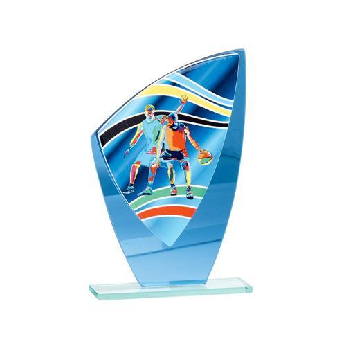Trophée basket bleu - verre 20cm.