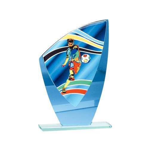 Trophée foot bleu - joueur - verre - 20cm.
