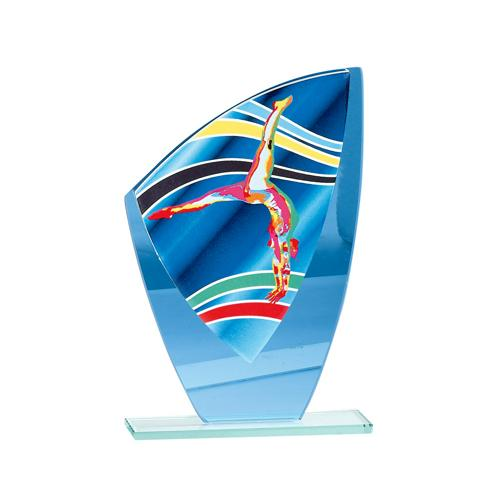 Trophée gym féminine bleu verre - 20cm.
