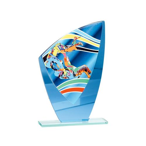 Trophée judo bleu - verre 20cm.