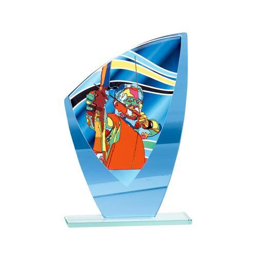 Trophée tir à l'arc bleu - verre - 20cm.
