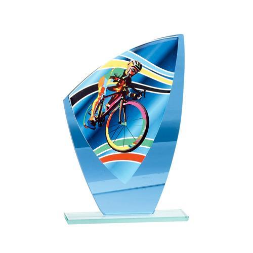 Trophée cyclisme bleu - verre - 20cm.