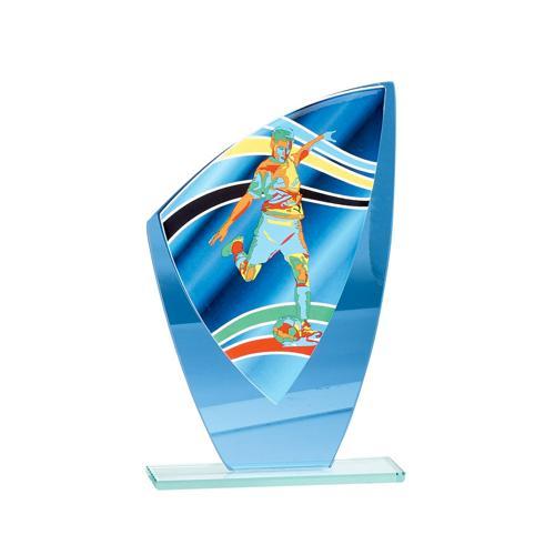 Trophée foot bleu - verre 20cm.