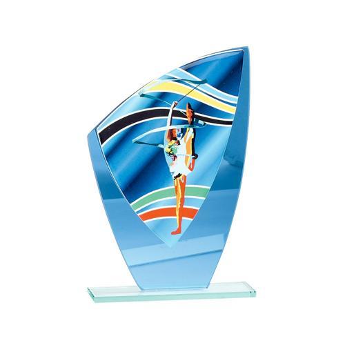 Trophée gym bleu - verre - 20cm.