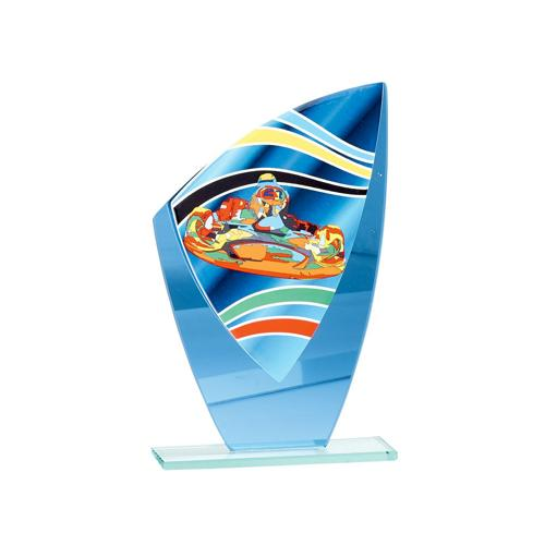 Trophée karting bleu - verre 20cm.