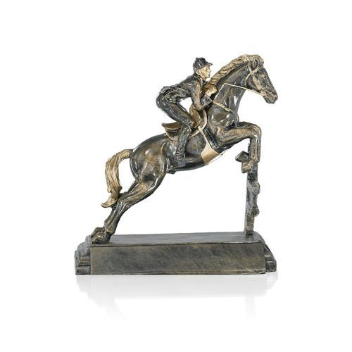 Trophée équitation avec cavalier cuivrée - résine 23cm.