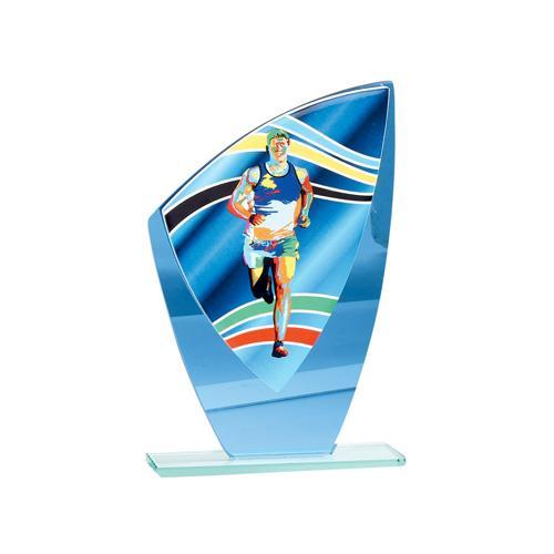 Trophée course bleu - verre 22cm.