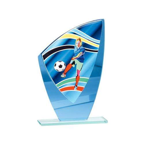 Trophée foot féminin bleu verre - 22cm.