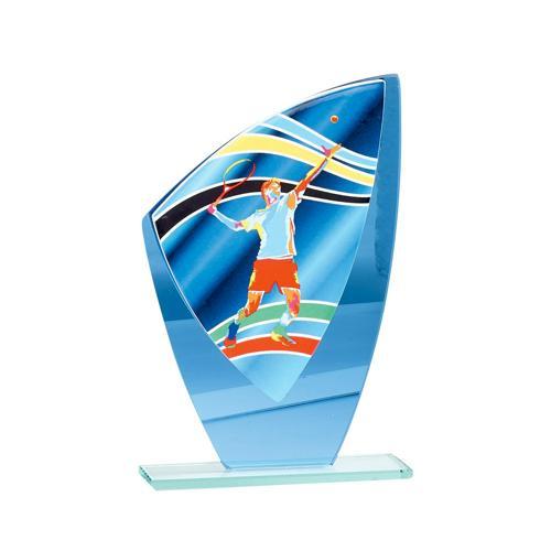 Trophée tennis bleu - verre 22cm.