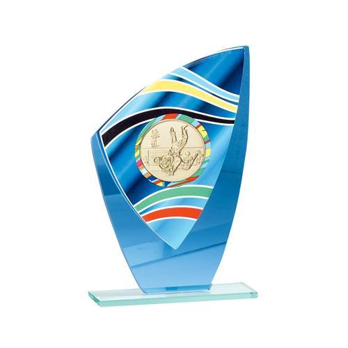 Trophée porte médaille bleu verre - 22cm.