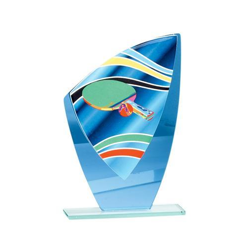 Trophée tennis de table bleu verre - 22cm.