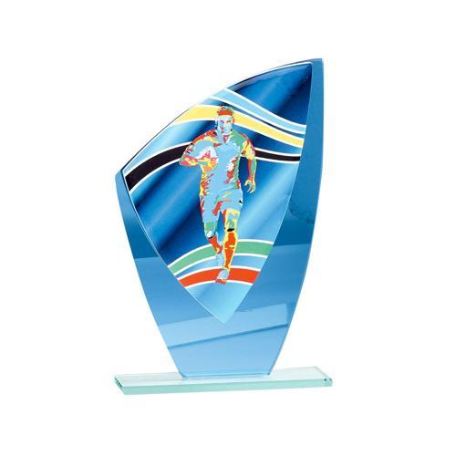 Trophée rugby bleu - verre 22cm.