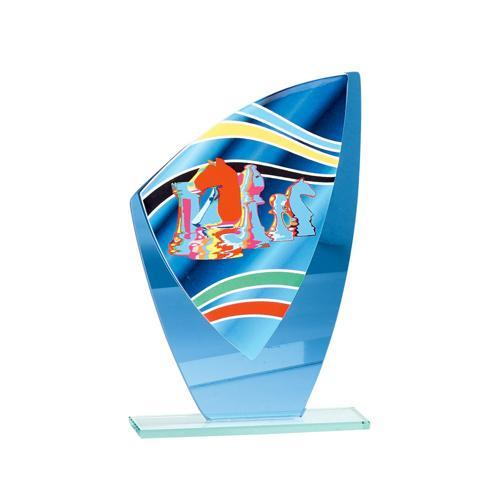 Trophée échecs bleu - verre 22cm.
