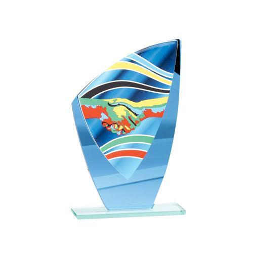 Trophée fair play bleu - verre - 22cm.