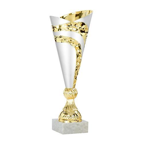 Coupe blanc et or avec socle blanc - économique - 24cm.