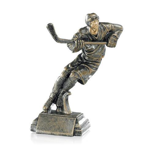 Trophée hockey cuivrée - résine - 21cm.
