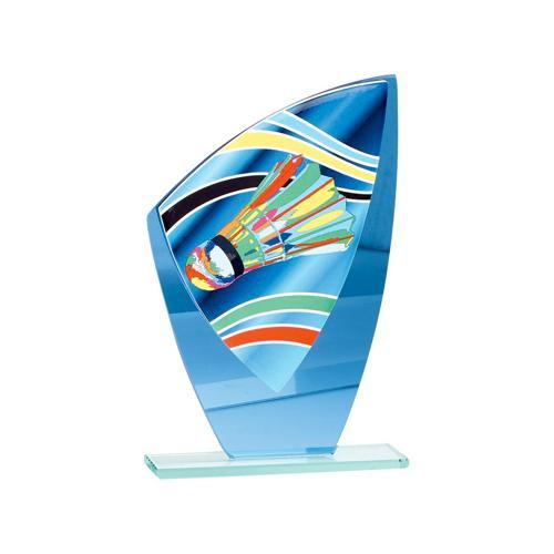 Trophée badminton bleu - verre - 24cm.