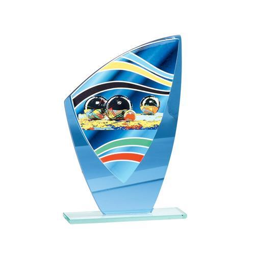 Trophée pétanque bleu - verre - 24cm.