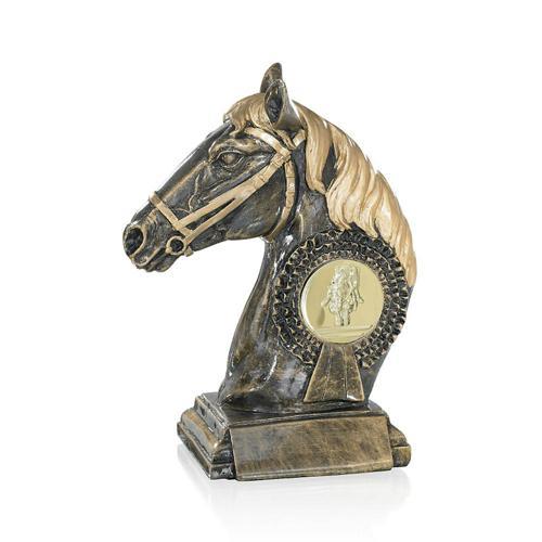 Trophée équitation avec tête cheval cuivrée - résine 23cm.