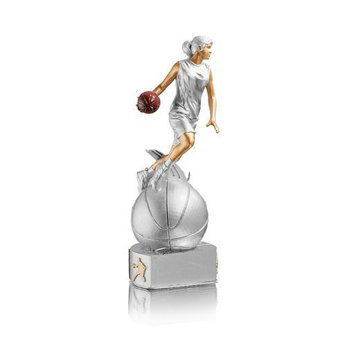 Trophée basket argent - résine - 20cm.