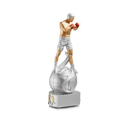 Trophée boxe argent - résine 20cm.