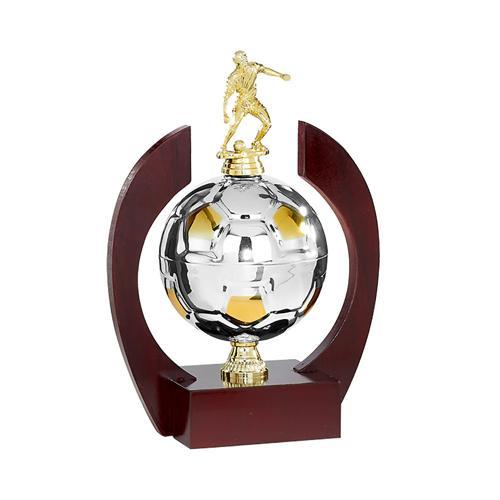 Trophée foot or et argent joueur sur ballon en métal spécial foot - 29cm.