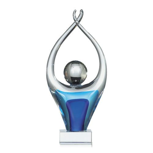 Trophée verre bleu et argent - classique - 33cm.
