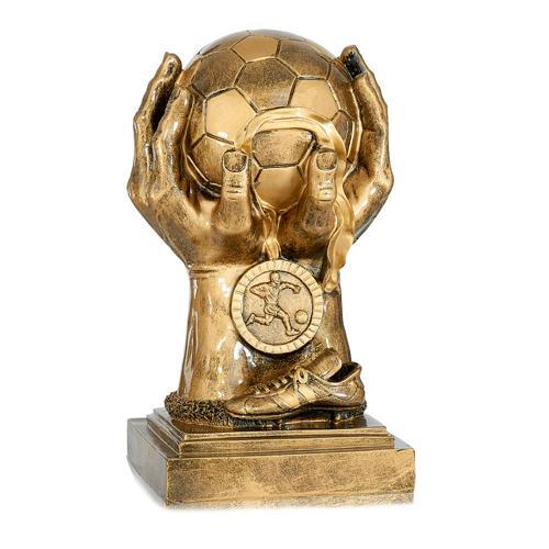 Trophée foot cuivrée - ballon soulevé - spécial foot - 33cm.