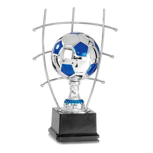Trophée foot bleu et argent joueur sur ballon en métal spécial foot - 33cm.