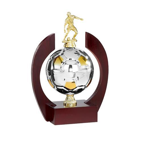 Trophée joueur sur ballon en métal or et argent - spécial foot - 33cm.