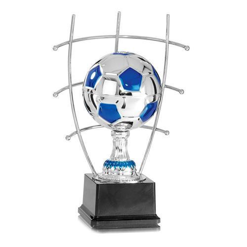 Trophée foot bleu et argent - joueur sur ballon en métal - spécial foot - 36cm.