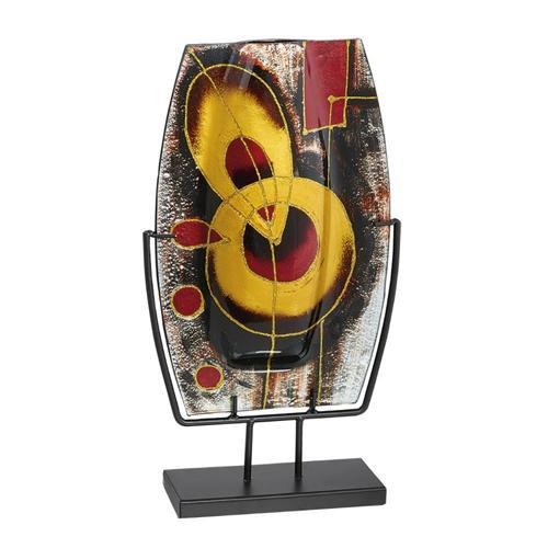 Trophée verre or, rouge et noir - classique - 40cm.